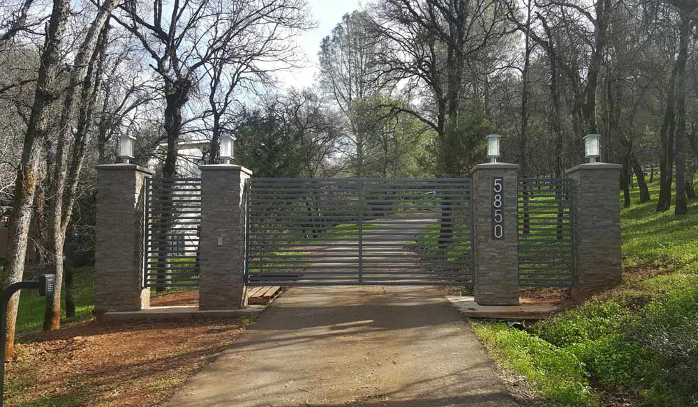 Custom Built Driveway Gate and Stonework in Auburn, CA 95603.