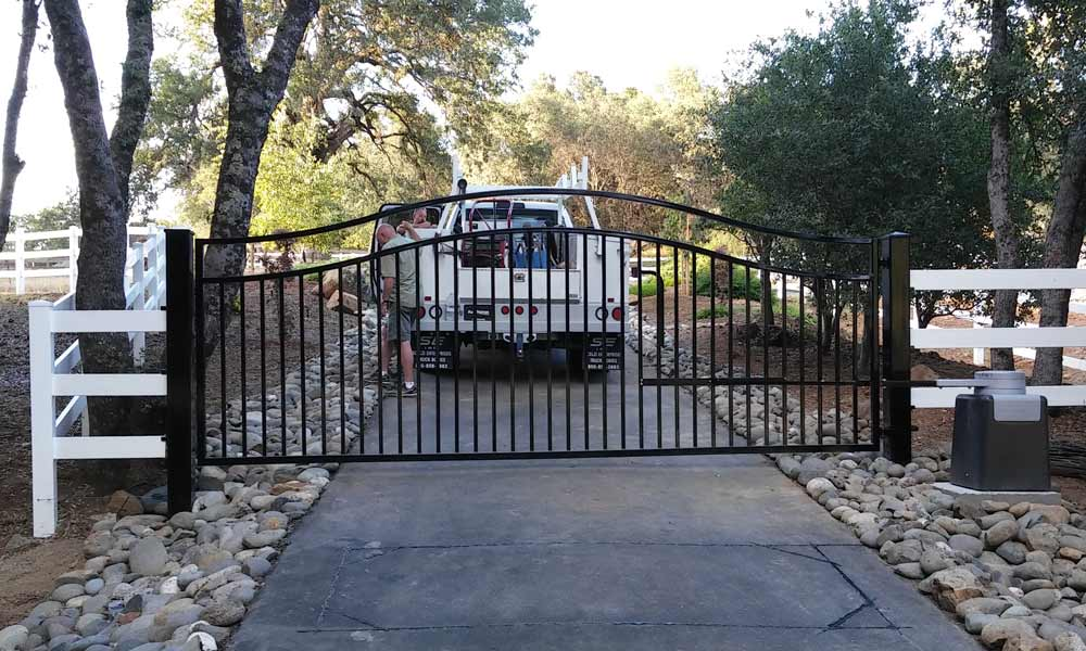 Custom Rod Iron Driveway Gate, Operator & Remote Keypad New Installation in Auburn, CA.