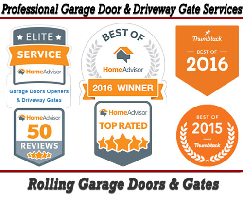 Best of 2016 Garage Door Services Awards from HomeAdvisor.com & Thumbtack.com for Rolling Garage Doors & Gates!