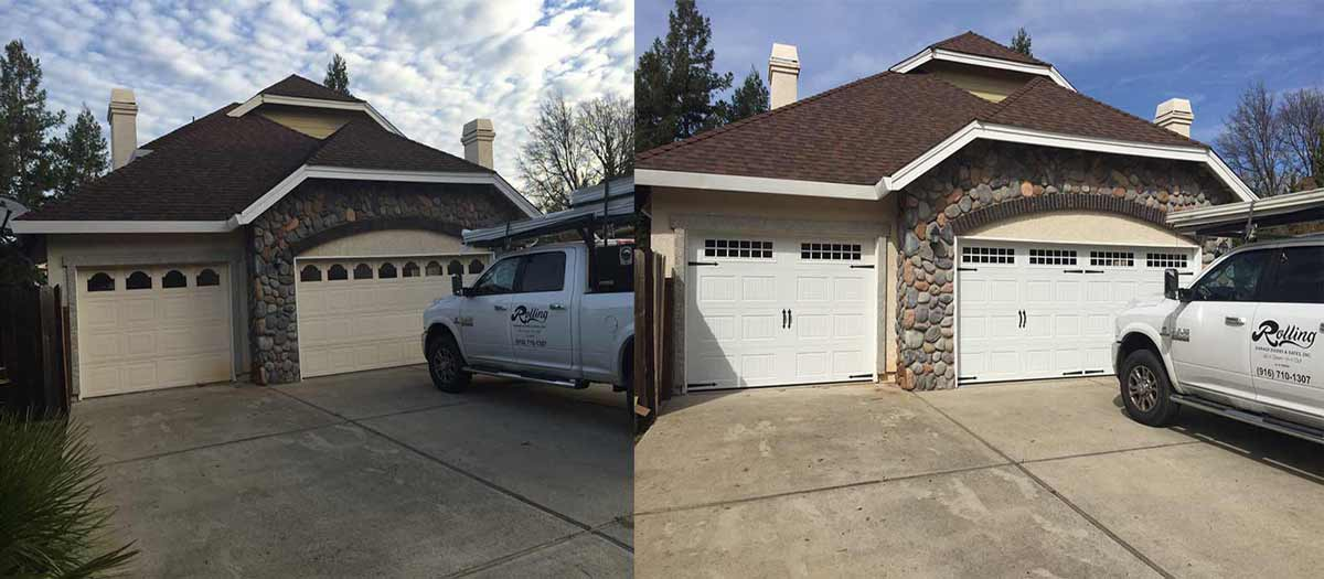 Before and After Photo of an Awesome One Car and Two Car Garage Door and Opener Installation by Rolling Garage Doors & Gates