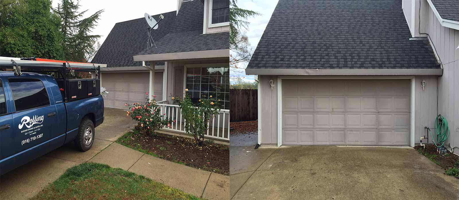 Before and After Photo of a New Two Car Garage Door & Opener by Rolling Garage Doors & Gates