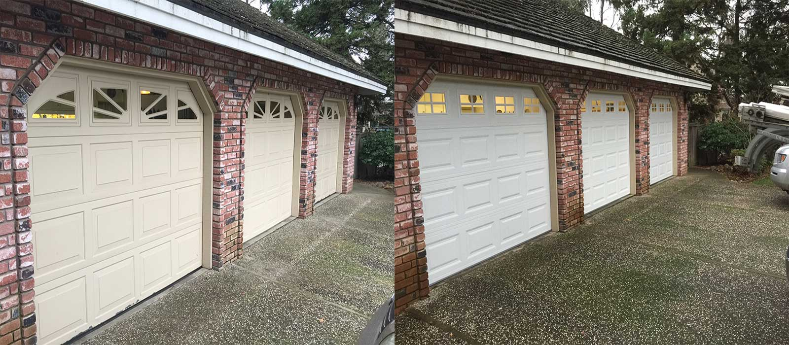Garage door opener repair install maintain services 530 320 8879 before and after photo of a garage with three one car garage doors and openers rubansaba