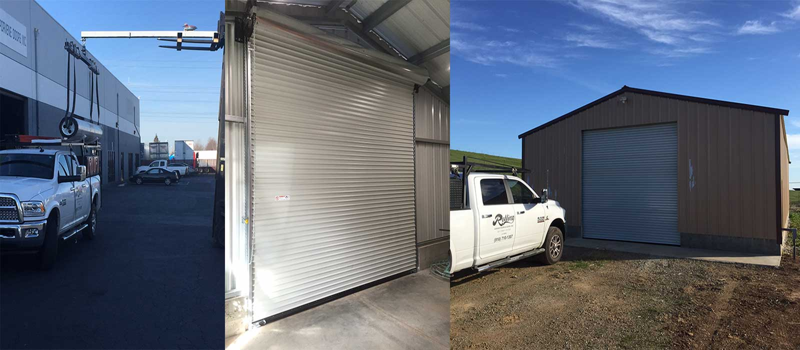 Commercial Garage Door Pickup, Before and After Photos of a Steel Workshop Rollup Garage Door by Rolling Garage Doors & Gates